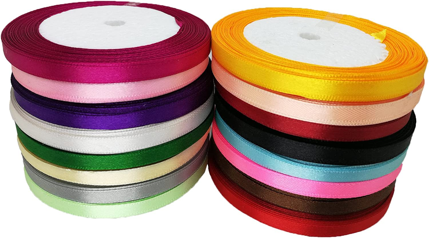 Decorator 1 20MM Crafting Sewing Wedding etc JESEP 16 Rolls 400 Yards Double Face Solid Satin Fabric Ribbon Multi-Color Packing for Gift Package Wrapping Hair Bow Clips Accessories