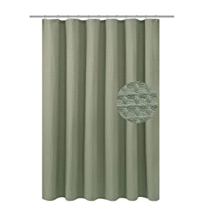 """Waffle Weave Fabric Shower Curtain Heavyweight (230 GSM) - Hotel Luxury, Mildew Resistant & Water Repellent, Washable, Sage Green Diamond Pattern - Pique, 70"""" x 72"""" for Decorative Bathroom Curtains"""