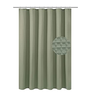 Waffle Weave Fabric Shower Curtain Heavyweight (230 GSM) - Hotel Luxury, Mildew Resistant & Water Repellent, Washable, Sage Green Diamond Pattern - Pique, 70  x 72  for Decorative Bathroom Curtains