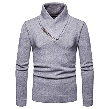 Traje de hombre otoño ❤ Sonnena Camisa de manga larga con cuello en V para hombre, invierno, casual, cremallera, gargantilla, blusa: Amazon.es: Hogar