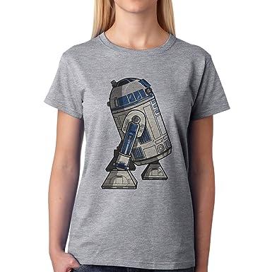 Robot Metal Cyborg Cartoon Star Wars R2D2 XXL Damen T-Shirt