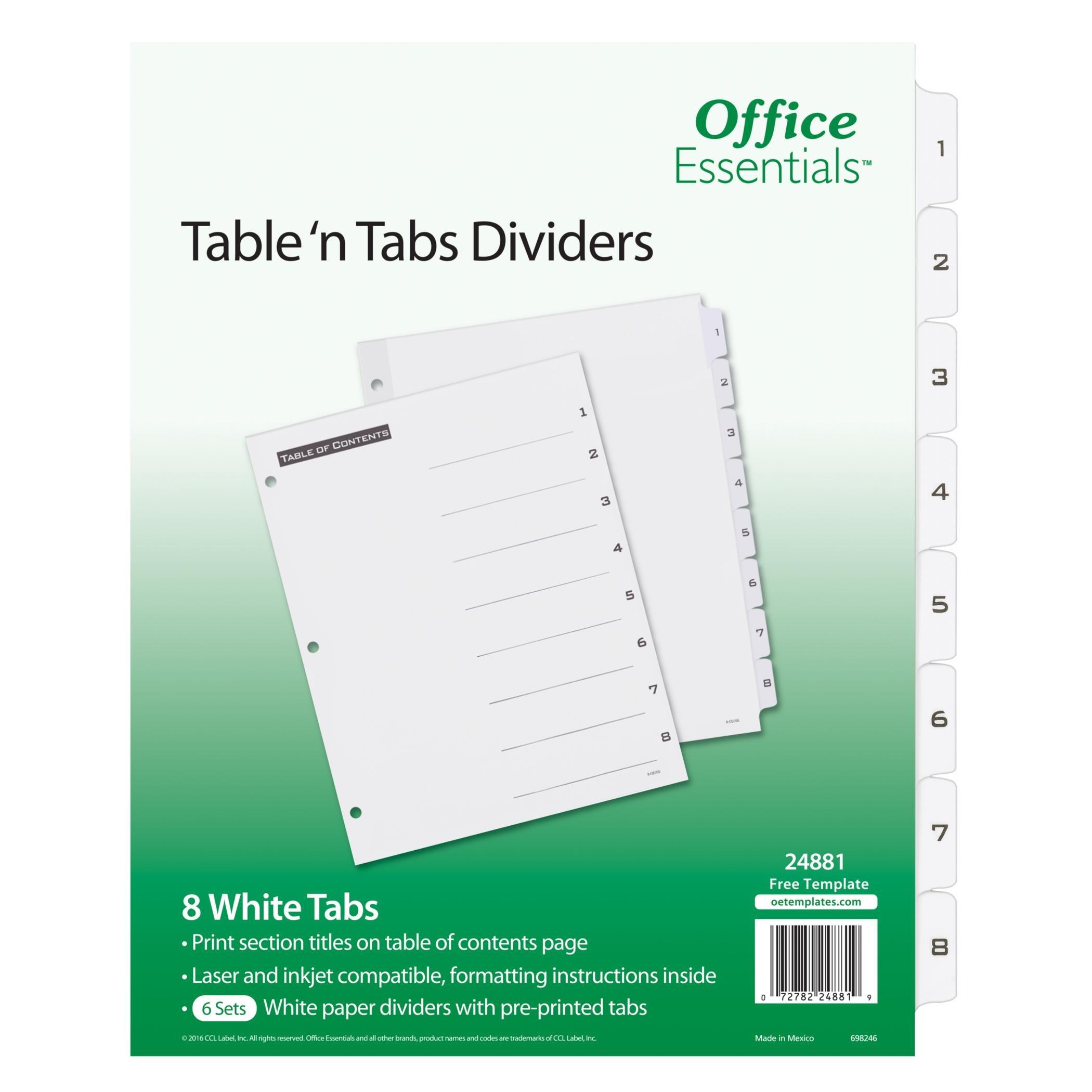 Office Essentials Table 'n Tabs Dividers, 1-8 Tab, Black/White Tab, Laser/Inkjet, 6 Pack (24881)