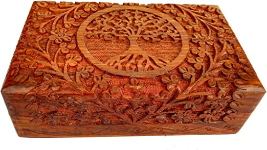 Rastogi Handicrafts – Fina caja de madera tallada con el diseño ...