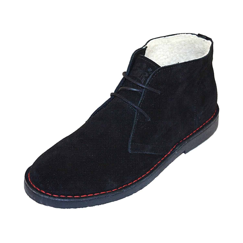Stiefel & Braces - 2012er Winter 2-Loch Suede-Leder Stiefel mit Teddyfutter Schwarz schwarz