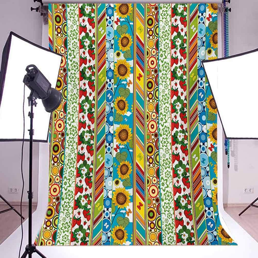 Striped 10x15 FT Photo Backdrops,Colorful Summer Spring Retro Patchwork Style Pattern Sunflower Butterfly Strawberry Background for Photography Kids Adult Photo Booth Video Shoot Vinyl Studio Props