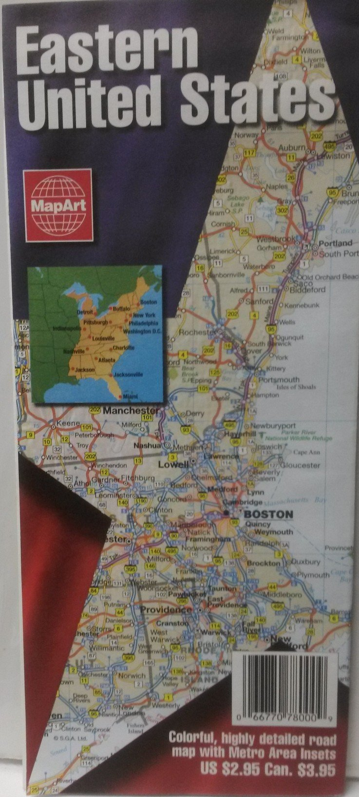 Eastern United States: Detailed Road Map, Inset Maps for ...