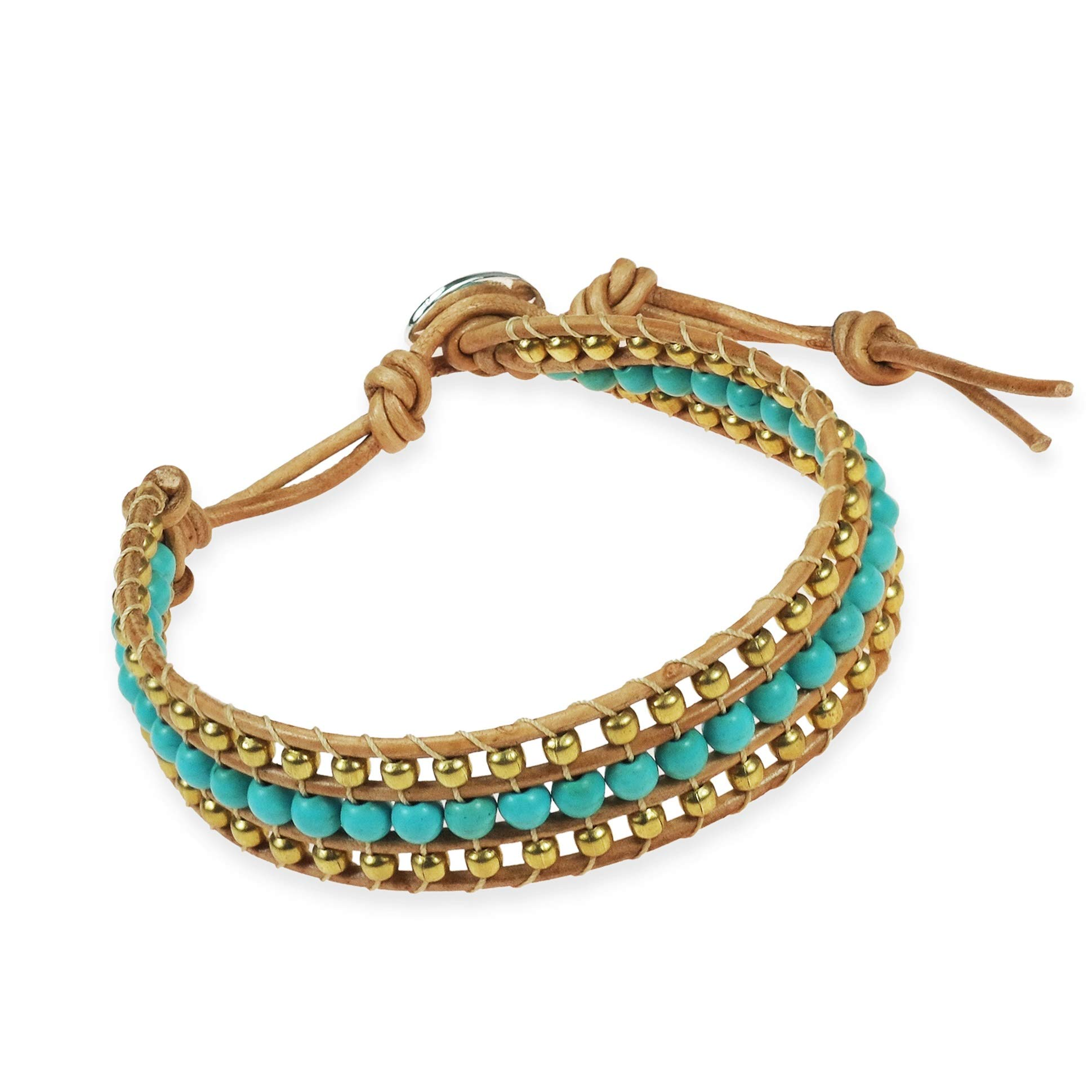 AeraVida Bedazzling Belle Simulated Turquoise & Fashion Brass Beads Nude Leather Adjustable Wrist Pull Bracelet