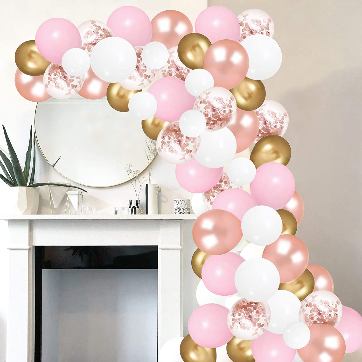 Rose Gold Pink Balloon Garland Kit,100 Pack White and Rose Gold Confetti Latex Balloons with Strip Tape and Dot Glue for Wedding Birthday Party Decorations