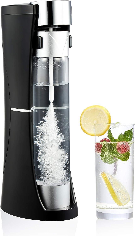 CO-Z Desktop Sparkling Water Maker, 1 Liter Homemade Soda Pop Maker Machine, 1.75 Pint Seltzer Water Fizzy Drink and Soda Machine for Home, Countertop Fizzy Water and Carbonated Soda Maker, Black