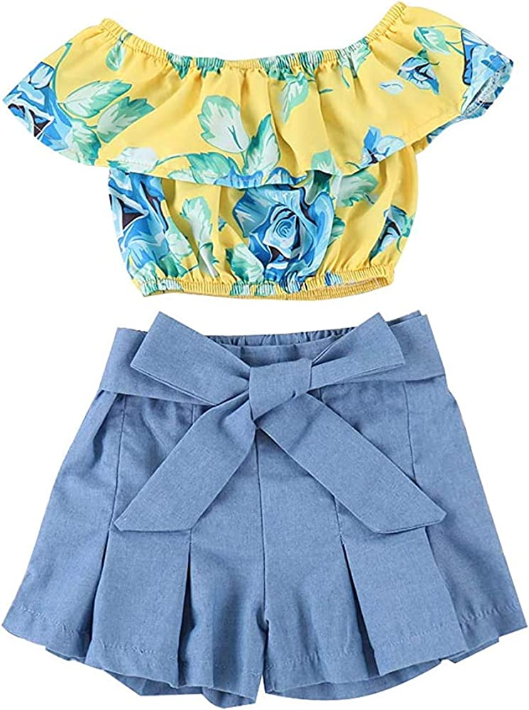 Baby Girls Summer Clothes Halter Off Shoulder Ruffles Flying Sleeve Top Shorts Pants Tutu Skirt 2PCS Outfits Set