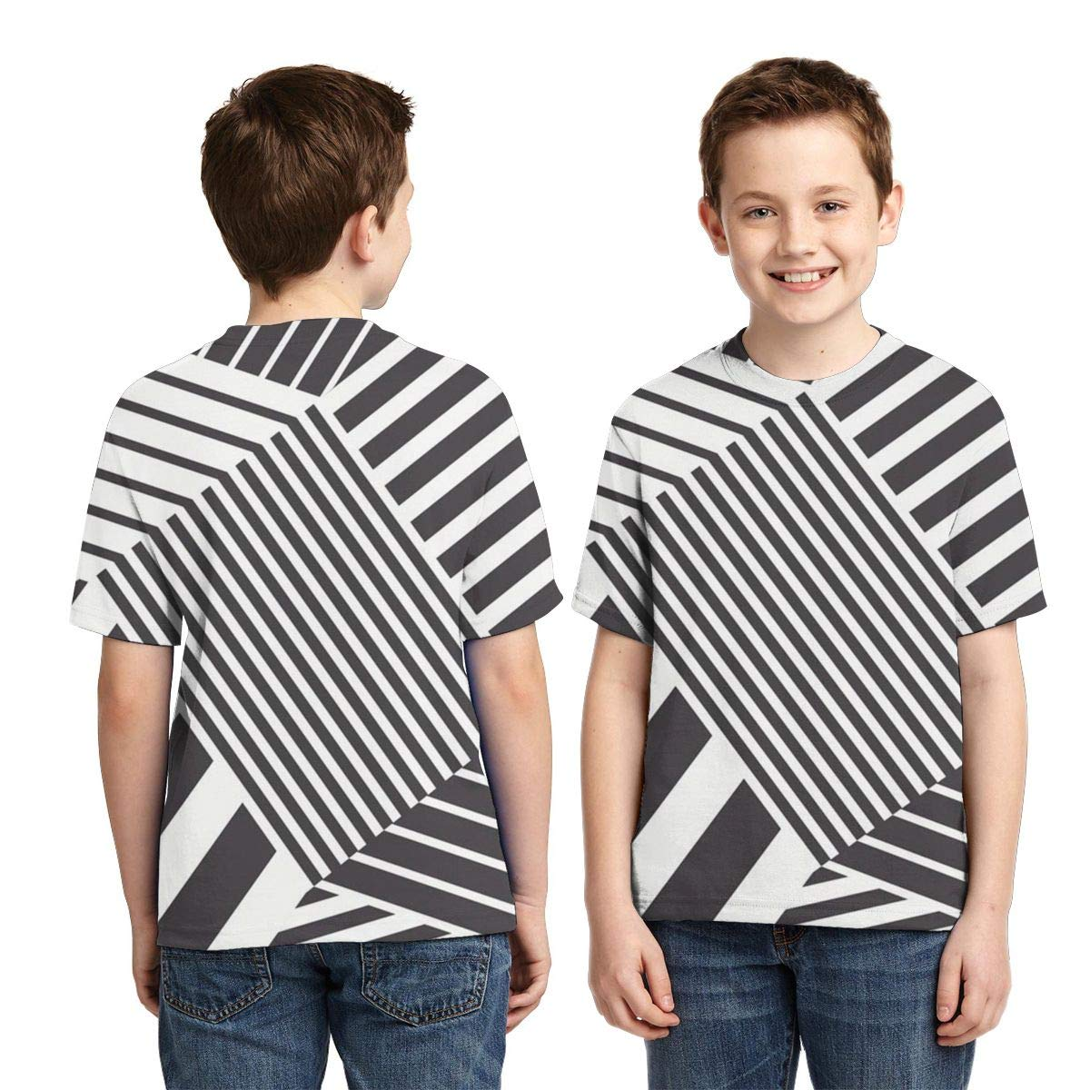 HHTZTCL Black and White Stripes Boys Print Graphic Tee Short Sleeve T-Shirt