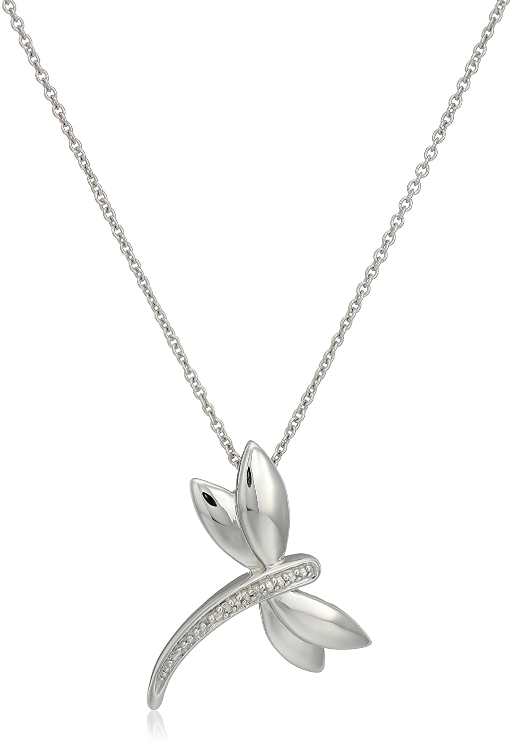 dragonfly p pave pendant heart charm bling sterling pl cz jewelry necklace silver butterfly