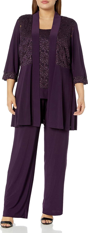 R/&M Richards Womens Womans Mock Top Lace Pant Set Cocktail Dress