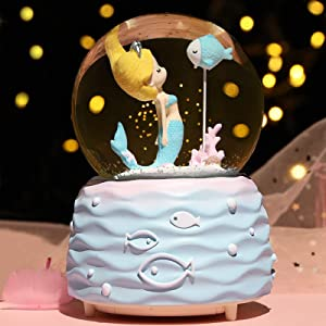 Mermaid Snow Globes,Snowglobes with Musical,LED Lights, Gifts for Girls,Birthday Christmas Festival Gift for 5-12 Year Old Girls (Blue)