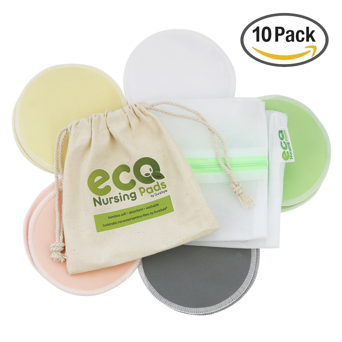 Washable Reusable Eco Nursing Pads™ - Ultra Soft Organic Bamboo - Laundry & Travel Bag Included DuraStyle