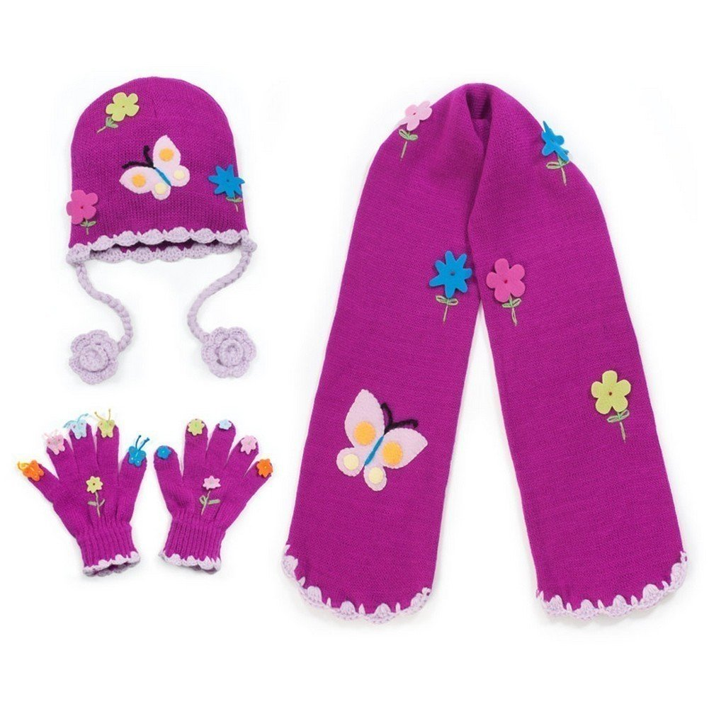 Kidorable Purple Butterfly Soft Hat/Scarf/Glove Set for Girls w/Flowers and Butterflies (Ages 6-8)