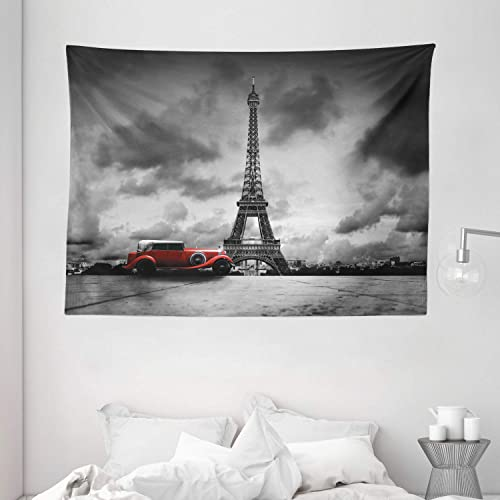 Ambesonne Eiffel Tower Tapestry, Image of Eiffel Tower Paris France Vintage Car Street Dark Clouds, Wide Wall Hanging for Bedroom Living Room Dorm, 80 X 60 , Black White Red