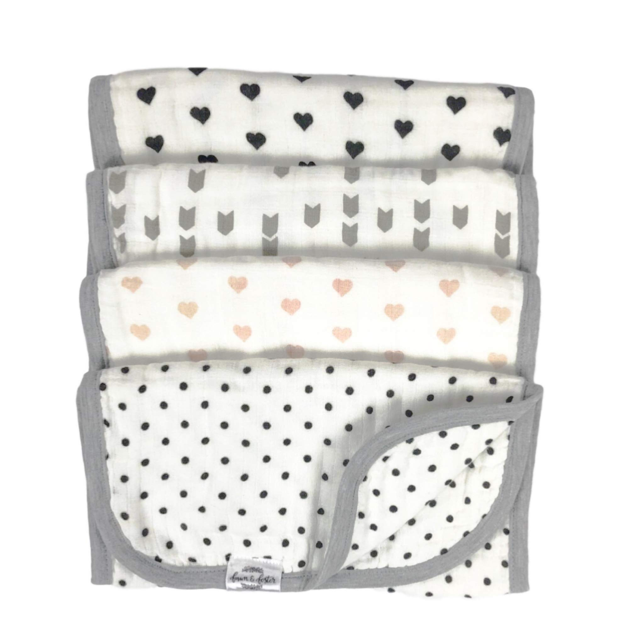 Fawn & Foster 100% Cotton 4-Pack Baby Burp Cloth Quadruple Layer Ultra Soft and Absorbent Dual-Sided Print (Hazel) by Fawn and Foster