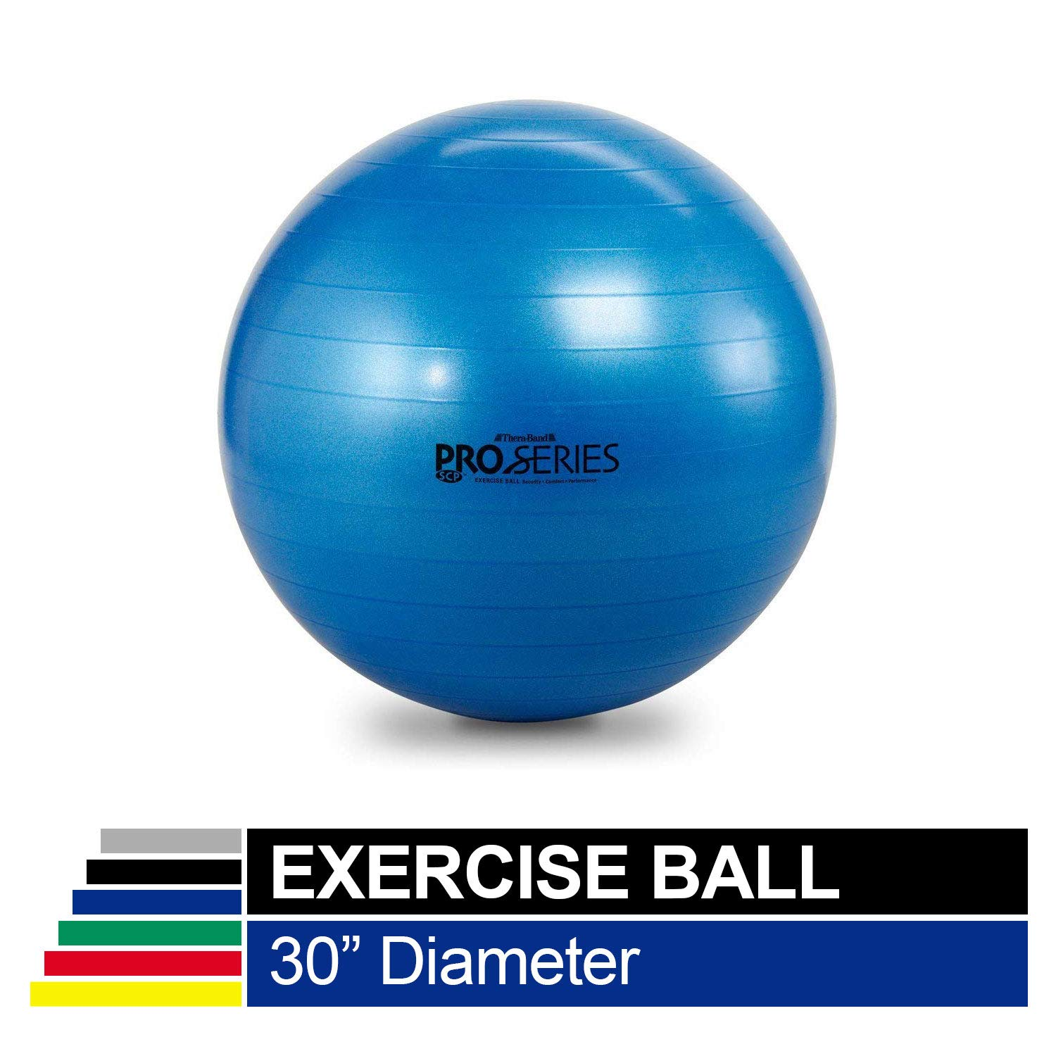 TheraBand Exercise Ball, Professional Series Stability Ball with 75 cm Diameter for Athletes 6'2'' to 6'8'' Tall, Slow Deflate Fitness Ball for Improved Posture, Balance, Yoga, Pilates, Core, Blue by TheraBand