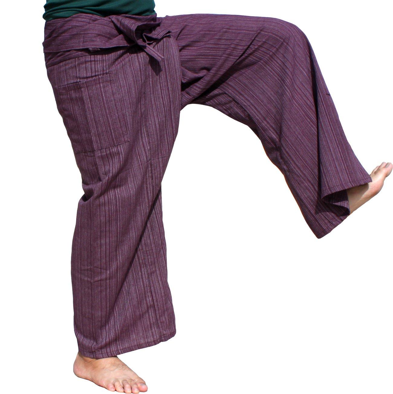 RaanPahMuang Light Striped Cotton Tall Thai Fisherman Wrap Pants Plus, XX-Large, Warm Purple by RaanPahMuang