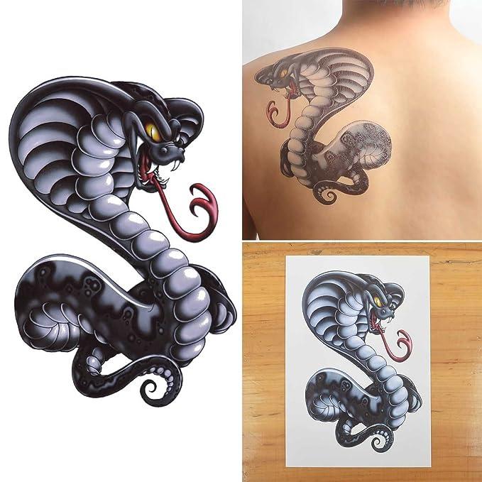 COKOHAPPY Grande Temporales Tatuaje Cobra Serpiente Snake: Amazon ...