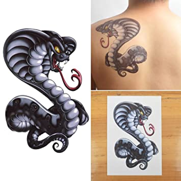 COKOHAPPY Grande Temporales Tatuaje Cobra Serpiente Snake: Amazon ...