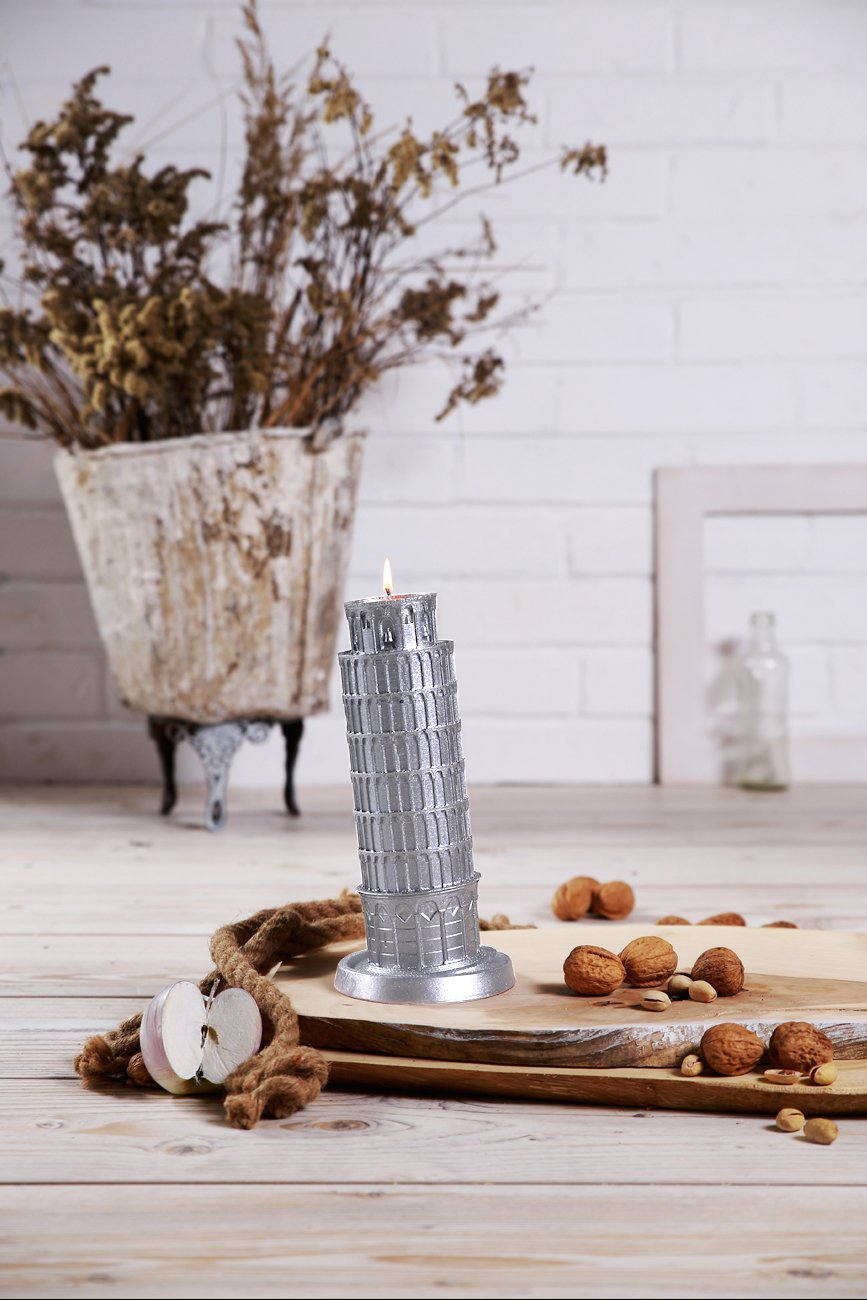 Candellana Candles Candellana- Pisa Tower Candle-Silver, Large,