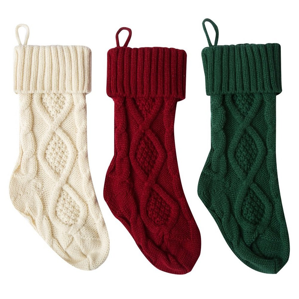 Stock Show 15'' Christmas Knitted Stockings Mid-Size Xmas Gift Bags for Christmas Decoration Fireplace Decor, Set of 3, Burgundy and Ivory White and Dark Green