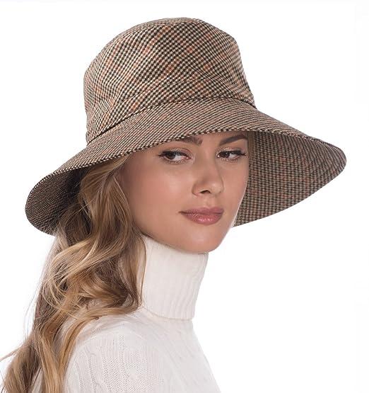 d03f0dcf63a Eric Javits Luxury Fashion Designer Women s Headwear Hat - Rain Floppy -  Tan Check