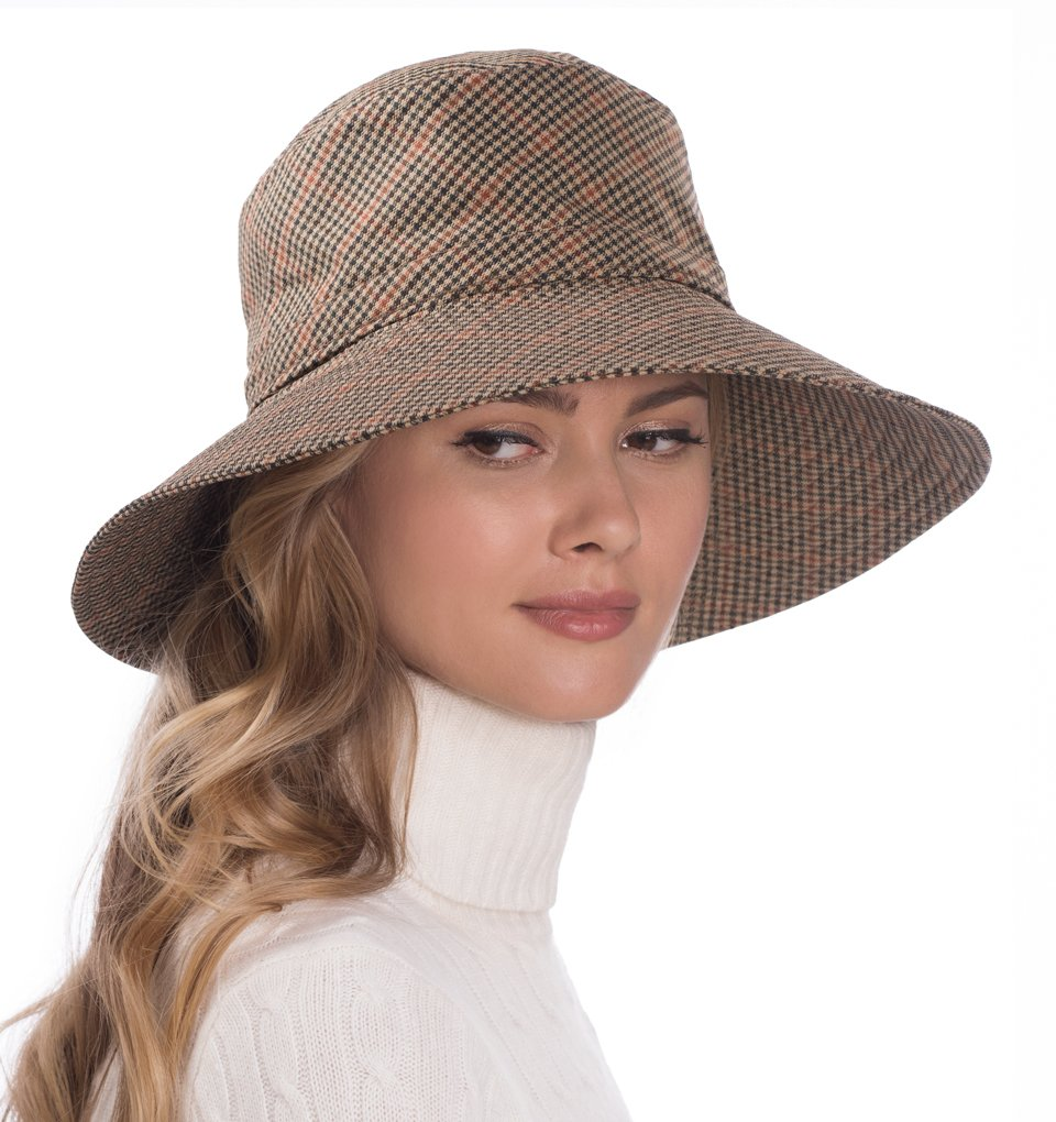 Eric Javits Luxury Fashion Designer Women's Headwear Hat - Rain Floppy - Tan Check by Eric Javits