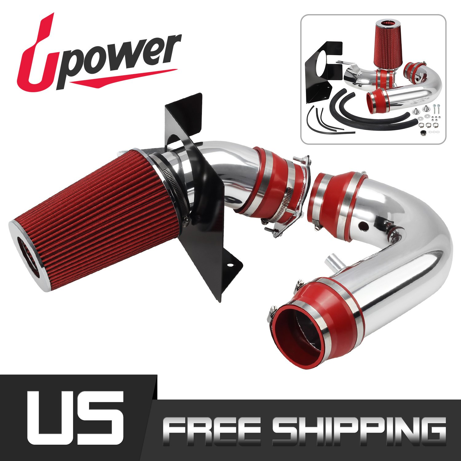 4'' Red Cold Air Intake System for Ford 99-03 F-150/99-04 Expedition 4.6L/5.4L V8 Increase Horsepower