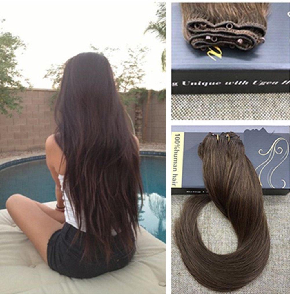 Ugeat 16inch 50gram 12 Width Human Hair Weft Extensions Seamless