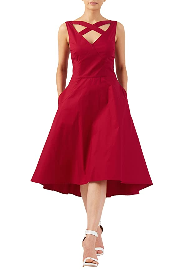 Vintage Inspired Cocktail Dresses, Party Dresses eShakti Womens Cross strap V-neck stretch cotton poplin dress $49.95 AT vintagedancer.com