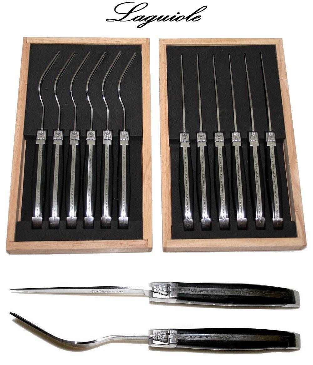 La mesa Laguiole - Juego de 12 cubiertos (6 cuchillos + 6 tenedores) - Auténtica Negro Madera - Con berü enmarcado Pastor Cruz (Madera de pakka - Cubertería ...