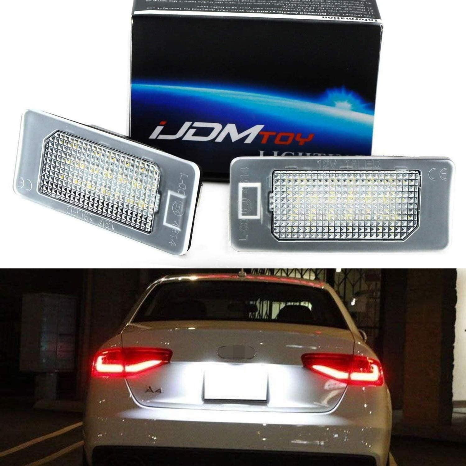 Powered by 24-SMD Xenon White LED /& CAN-bus Error Free iJDMTOY OEM-Fit 3W Full LED License Plate Light Kit Compatible With A4 A5 A6 A7 S4 S5 S6 S7 RS4 RS5 RS7 Q5 Q7