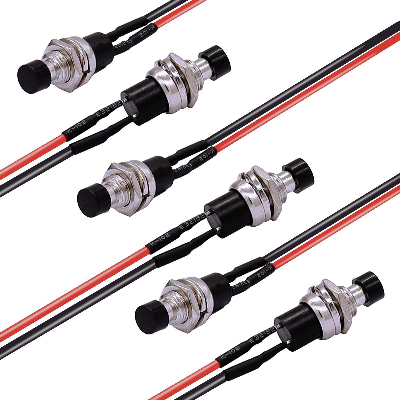 TWTADE//12Pcs Momentary Mini Push Button Switch 1A 250V AC 2 Pin SPST NO PBS-110-BK Normally Open