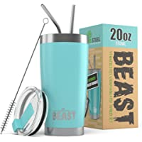 BEAST 20oz Teal Blue Tumbler - Insulated Stainless Steel Coffee Cup with Lid, 2 Straws & Brush by Greens Steel