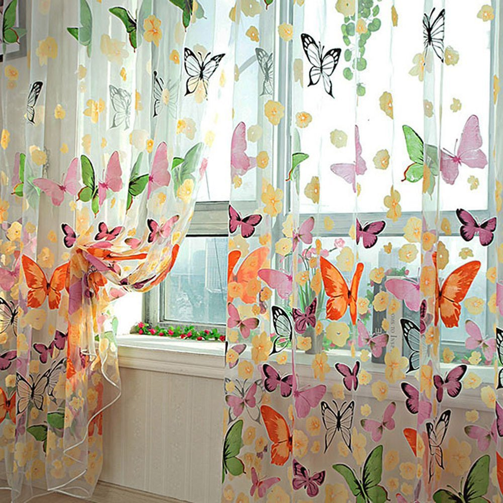 Bluelans® Door Window Balcony Butterfly Print Tulle Voile Sheer Curtain Panel 100cm x 200cm