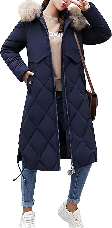 Lemosery Womens Fashion Big Fur Hood Long Down Jacket Zipper Slim Fit Warm Winter Down Coat
