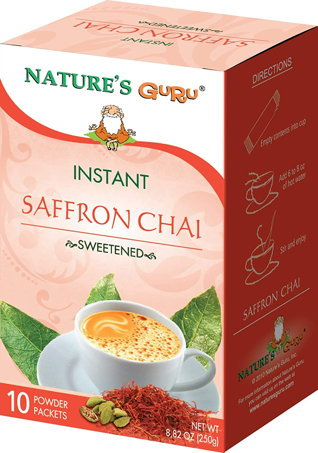 Nature's Guru Instant Saffron Chai Tea Drink Mix Sweetened 10 Count Single