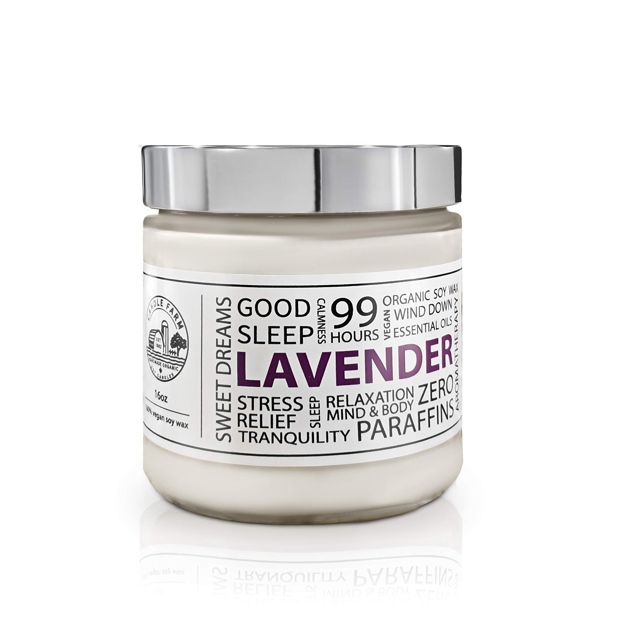 Lavender Scented Candle Made from Soy Wax Made with Natural Essential Oils - Aromatherapy by Candle Farm by Candle Farm
