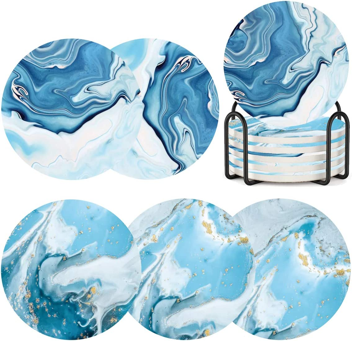 Coasters for Drinks with Holder,Marble Ocean Pattern Ceramic Absorbent Coasters with Cork Base,Prevent Table Scratched and Absorb Water Stains,Xmas Housewarming Gifts Pack of 6