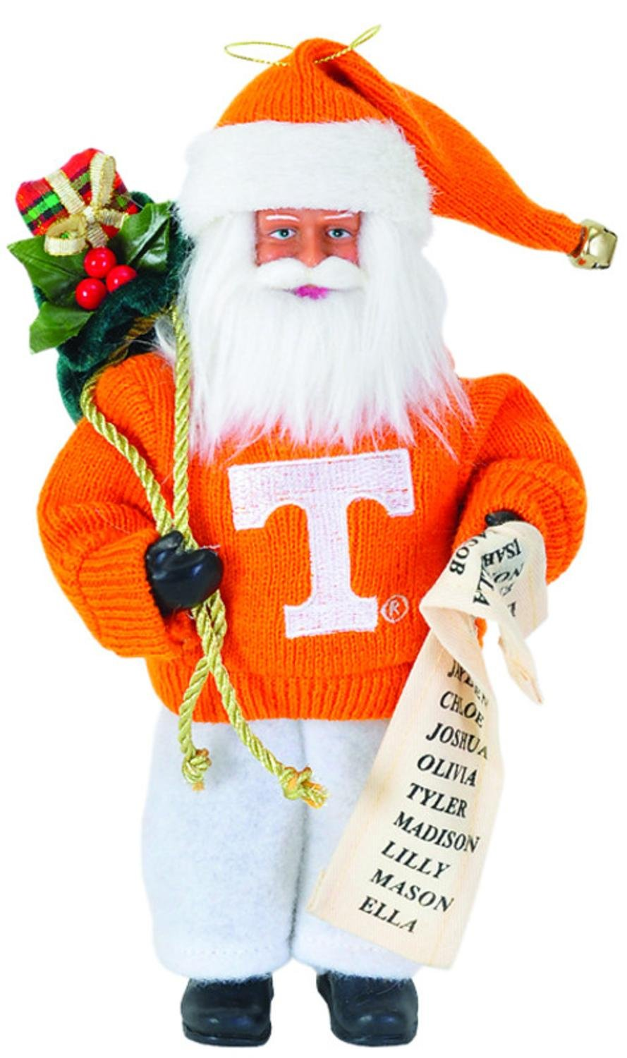 9'' NCAA Tennessee Volunteers Santa Claus with Good List Christmas Ornament