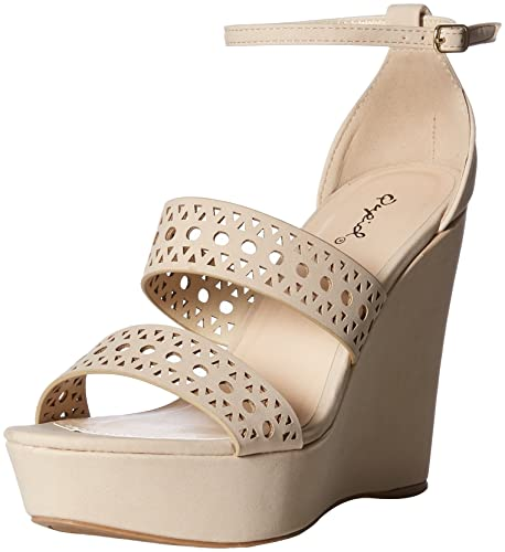 0f2bccd1cfb Qupid Women's Espadrille Wedge Sandal