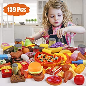 Tencoz Play Food Set, 139 Pieces Play Food Kitchen Toys with Fruits Vegetables Drinks Etc Pretend Play Food Toys Gifts for Kids Toddlers Girls