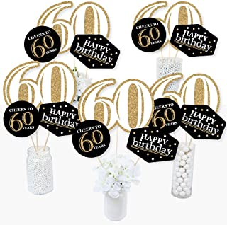 product image for Adult 60th Birthday - Gold - Birthday Party Centerpiece Sticks - Table Toppers - Set of 15