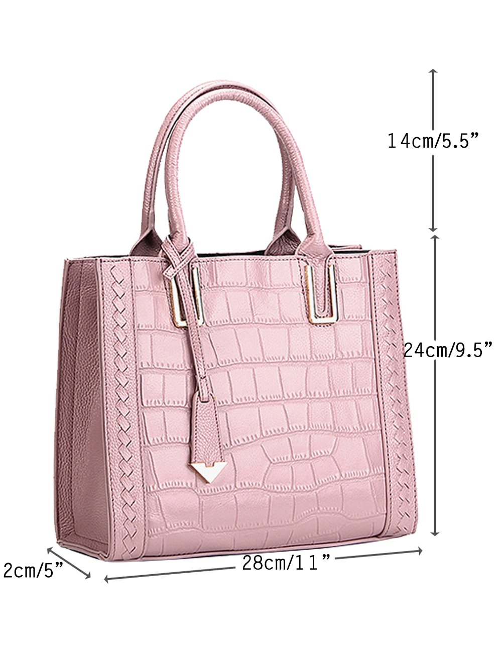 Menschwear Womens Genuine Leather Top Handle Satchel Bag Pink by Menschwear (Image #2)
