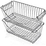 Smart Design Stacking Baskets Organizer w/ Handle - Medium - Steel - for Food, Fruit, & Vegetable Safe - Kitchen (12.63 x 5.5
