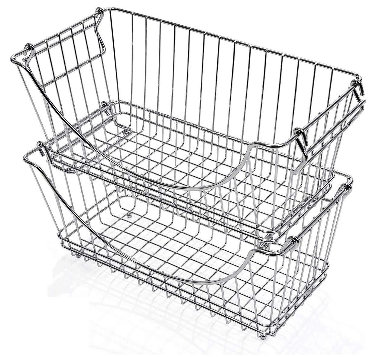 Smart Design Stacking Baskets Organizer w/Handle - Medium - Steel Metal - Food, Fruit, Vegetable Safe - Kitchen (12.63 x 5.5 Inch) [Chrome] (2 Pack) by Smart Design
