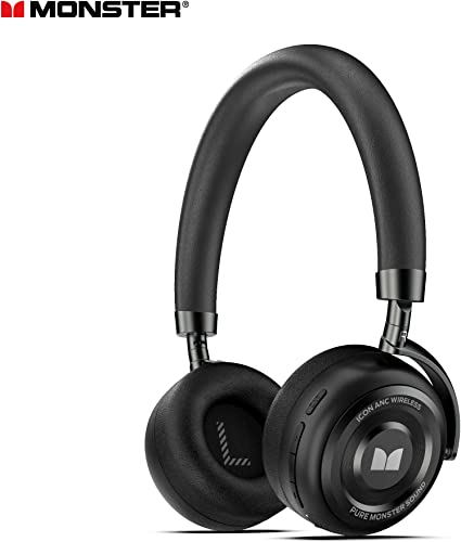Active Noise Cancelling Headphones, Monster Bluetooth Headphones with Carrying Case, Wireless Headphones with Mic and 30 Hours Playtime for Travel Work, Black